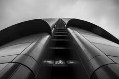 - Double Tubes Look UP - (Mr. LookUP) Tags: street sky urban bw building architecture clouds canon blackwhite shot unique streetphotography windy wideangle 1740mm urbanphotography blackandwithe urbanexplore 5diii