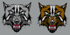 Snarler colour tray (Maxy.) Tags: cold art dogs illustration digital grey artwork wolf colours drawing teeth canine wolfs growl coloured emerald snarl hounds