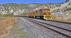 Utah Railway IPP empties at milepost 670, west side Soldier Summit, Utah. (Wheatking2011) Tags: west price out soldier utah power side railway delta empties load summitt ipp intermountain