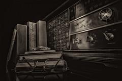 My Father's Radio (Trotter Jay) Tags: stilllife vintage reading w rcavictor radioshack vintageradio whiteb knifecase transistorradio tabletopphotography glassesold knifefolding knifeblack radioshackradio bookspocket