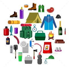 Camping Icons (Travel) (hypesol) Tags: morning camping camp woman holiday nature illustration design fishing icons picnic flat hiking background tent adventure business route serenity romantic spruce firewood element familyholidays familycamping camptent campingfamily weekendtraveler characterman touristcamperequipment