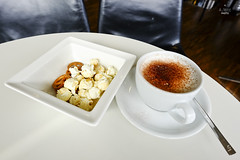 Cappuccino and popcorn (A. Wee) Tags: coffee switzerland airport senator swiss zurich lounge popcorn cappuccino   swissair zrh