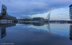 Dawn at Salford Quays. 23rd June 2016. (craigdouglassimpson) Tags: england sky water reflections dawn bridges salfordquays lancashire imperialwarmuseum mediacity
