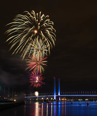 Docklands Fireworks (Scottmh) Tags: bridge reflection water clouds nikon colorful long exposure fireworks australia melbourne places victoria docklands colourful bolte d7100