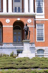 Statue of Daniel Webster on the Statehouse Grounds (oxfordblues84) Tags: city urban building statue boston architecture arch massachusetts columns capitol beaconhill outdoorsculpture bostonmassachusetts massachusettsstatehouse outdoorstatue danielwebsterstatue