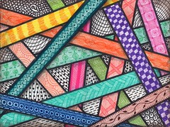Ribbon Weaving Tangle (Manurnakey) Tags: postcard doodle handdrawn zentangle zendoodle
