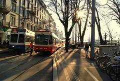 Zrich Trams / Zurich Tram (TJRzurich) Tags: blue winter red sun schweiz switzerland suisse zurich tram zrich bellevue zrichsee stadelhofen vbz forch mygearandme rememberthatmomentlevel1