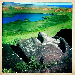 Lying Moai Over Rano Raraku Lake, Easter Island, Chile thru Hipstmatic (Eric Lafforgue) Tags: chile color colour apple archaeology southamerica statue island photography nationalpark chili pacific pascua nopeople unescoworldheritagesite unesco worldheritagesite pacificocean geology volcanic moai easterisland isla scenics rapanui isladepascua esater hangaroa tribalart ranoraraku humanhead singleobject southpacificocean  ancientcivilisation lyingonback  physicalgeography ili  polynesianisland  rapanuinationalpark  anthropomorphicface hipstamatic ile    southeasternpacificocean polynesiantriangle chileanpolynesia ranoaraku