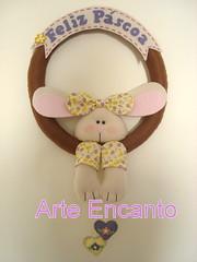 Guirlanda com Coelha em Feltro (ARTE ENCANTO - III) Tags: easter happy pscoa wreath guirlanda feliz feltro coelho tecido coelhinho coelha coelhinha