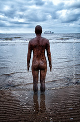 In One Ear (Hyperopia) Tags: sculpture beach water statue sand lancashire gormley crosby anthonygormley