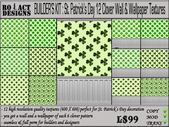 St Patrick's Day Clover Walls & Wallpapers Poster (Ro!Act Designs) Tags: wallpaper texture wall pattern secondlife clover shamrock seamless stpatricksday walldecor saintpatricksday cloverpattern shamrockpattern inworldz fullpermtexture clovertexture shamrocktexture