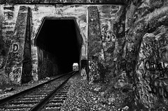 (BlackRockBacon) Tags: california blackandwhite lines contrast train photoshop pentax tripod tracks tunnel bayarea eastbay martinez k5 lightroom historybrush niksoftware silverefexpro