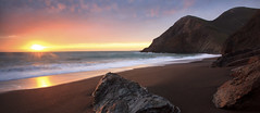 Sunset by the Sea  (pano crop) (Rob Macklin) Tags: ocean pink sunset black beach gold sand waves glow peaceful secluded hawaiiiwish northcoastcalifornia nothawaii robmacklinphotography