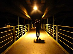 solitaire (life begins with 4t) Tags: travel bridge light shadow man male art concrete lumix photography solitude alone darkness walk philippines cement overpass panasonic quezoncity urbanlife katipunan 4t 4tsuarez fortunatocsuarezjr fortisuarez
