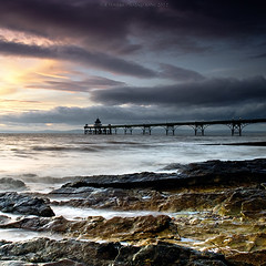 clevedon rocks archive (Scott Howse) Tags: uk sunset england sky water clouds coast pier rocks dusk tide somerset lee filters graduated clevedon 09h