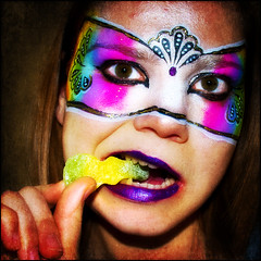 o9/52 rainbow is my guru (Leee Ann) Tags: me myself rainbow nikon candy mask colores textures selfportait facepaint 52 guru 52weeks d80