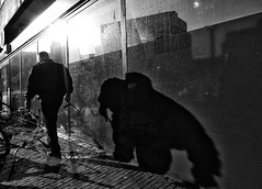 The City (Daan L) Tags: street city shadow urban white black holland monochrome digital mono march leiden noir 4 nederland metropolis gr nl schwartz zwart wit weiss iv blanc ricoh stad 2012 maart straat absorption 071 dutch thenetherlands richohgrdigitaliv