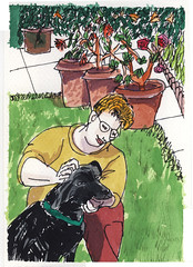 Black Dog, Green Garden, Red Pants 2008.08.07 (Julia L. Kay) Tags: sanfrancisco roses portrait woman dog pet brown white selfportrait plant black green art face animal yellow fauna female pen self garden watercolor paper puppy gold sketch san francisco artist arte julia kunst autoretrato kay canine daily dessin line peinture foliage portraiture watercolour 365 transparent everyday ochre dibujo dpp contour artista artiste knstler contourline juliakay julialkay dailyportraitproject