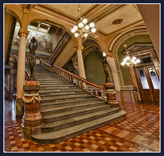 East Staircase - Iowa State Capitol (w4nd3rl0st (InspiredinDesMoines)) Tags: old west art history statue canon painting mural midwest stair famous central large statues indoor iowa chandelier staircase 7d government 1904 statecapitol important settlement 2011 1585 dontmiss edwinblashfield desmoinesisnotboring