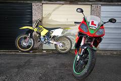 (RK Productions) Tags: red two green yellow gold energy rockstar stroke suzuki excel 125 rm derbi gpr renthal