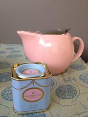 Pot of Wedgwood earl grey tea. (sewretro) Tags: pink blue grey tea pot earl teaparty wedgewood