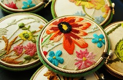 Vintage crewel pincushions (woolly  fabulous) Tags: flowers wool hoop linen zipper pincushion embroidered crewel