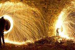 Double Fire Tunnel (Sl3dgehammer) Tags: wool night canon steel tunnel fisheye