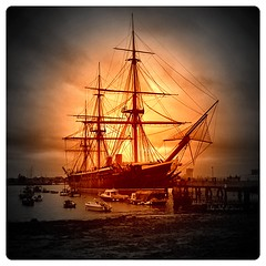 Sunset Warrior, Portsmouth (Andy Blackwell Photography) Tags: sunset england colour history sepia vintage painting ship navy hampshire historic bust portsmouth warrior tallship naval atmospheric warship rn hms dockyard iphone royalnavy hmswarrior reworked hants portsmouthhistoricdockyard historicdockyard screamofthephotographer dragondaggerphoto phototoaster