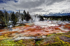 Paint Pot Reflections (James Neeley) Tags: winter landscape handheld yellowstonenationalpark yellowstone hdr fountainpaintpots 5xp jamesneeley