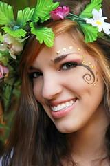 Beautiful Fairy with a Killer Smile (wyojones) Tags: flowers woman usa cute girl beautiful beauty smile look festival eyes pretty texas teeth makeup lips trf fairy faire brunette lovely facepaint browneyes mole fest renaissance renfest texasrenaissancefestival toddmission wyojones