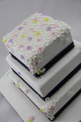 Draped in Daisies (Coco Jo Cake Design) Tags: daisies squareweddingcake weddingcakeflowers daisyweddingcake blossomweddingcake drapeddaisyweddingcake