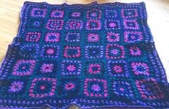 Jewel Granny Squares - Knee Rug (Wychbury Designs) Tags: blue black colour green wool glitter square purple teal crochet twinkle fuschia yarn blanket granny jewel