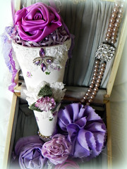 in love with purple! (AllThingsPretty...) Tags: ribbonflowers ribbonroses fabricroses