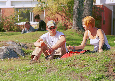 Conversation in Front of the Library
