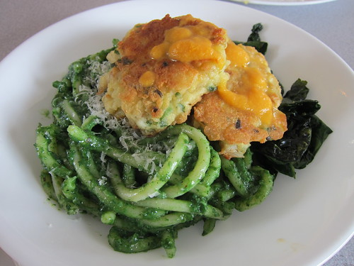 Salt Cod Cakes with Kale and Nettle Pesto Pasta