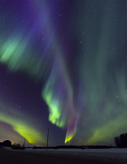 Aurora! (Karppikala) Tags: winter green night canon finland stars lights purple aurora lapland 7d northern