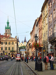 Market Square, Lviv, Ukraine (Ferry Vermeer) Tags: color architecture day tram lviv ukrain
