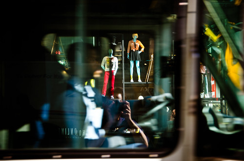 Click...layers...me, the bus driver, mannequins...