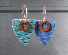 Carved Blue Galaxy Triangles (roseannamsmith) Tags: polymerclay copper earrings 52earrings