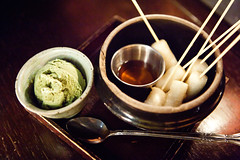 Roasted rice cake sticks with green tea ice cream (thewanderingeater) Tags: nyc dinner manhattan tribeca kori koreancuisine korirestaurant