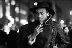 street portrait (jonron239) Tags: portrait man london hat night cigarette smoking fedora leatherjacket geezer