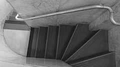 A08213 / the stairs down from the berggruen gallery / san francisco, california (janeland) Tags: sanfrancisco california blackandwhite bw stairs blackwhite architecturaldetail nb staircase narrow serpentine underfoot grantavenue 94108 berggruengallery