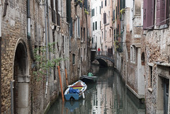 Venice canal view (Ranyan23) Tags: blue venice windows water boat canal walls narrow