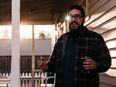 Garza (BurlapZack) Tags: sunset portrait beer smile bar easter spring backyard glow afternoon bokeh smoke lensflare laugh flare pointandshoot eyeglasses magichour compact springtime 43 easteregghunt smokebreak pack01 dentontx digitalcompact advancedcompact vscofilm osdhcp oakstreetdrafthousecocktailparlor panasoniclumixlx100 eyelazer