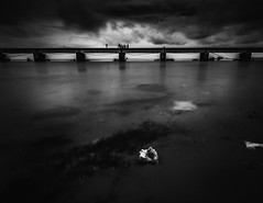 Tranquility (Vilvesh) Tags: life travel sea people bw house water monochrome canon photography fisherman wideangle tamilnadu rameswaram cwc longeposure tokina1116mm chennaiweekendclickers cwctravelwalk
