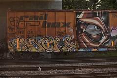 SANGRE PAWN & ALB (TheGraffitiHunters) Tags: street pink blue red orange white black green eye art yellow train graffiti colorful paint tracks spray boxcar alb freight sangre pawn benched pawl benching
