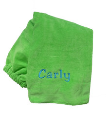 Lime Green Lady's Shower Wrap (initial_impressions) Tags: embroidered personalized limegreenladysshowerwrap