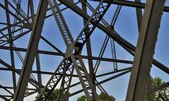 Pure structure: High Level Bridge, Canadian Pacific Railway, 1909 - Oldman River, Lethbridge, Alberta (edk7) Tags: railroad trestle bridge sky cloud canada west building architecture steel railway rr alberta 2008 cpr lattice lethbridge girder truss highlevelbridge canadianpacificrailway rwy oldstructure oldmanrivervalley lethbridgeviaduct nikond300 edk7 nikonnikkor18200mm13556gedifafsvrdx 190709