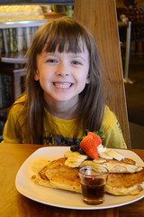 Banana Pancakes (Vegan) (Vegan Butterfly) Tags: food cute girl smile smiling pancakes breakfast lunch happy restaurant kid vegan yummy maple edmonton child adorable strawberries tasty plate banana delicious vegetarian brunch dining syrup blueberries dairyfree padmanadi