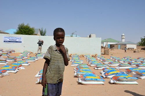 A young child during food distributions in Puntland